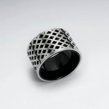 Stainless Steel PVC Lattice Textured Ring