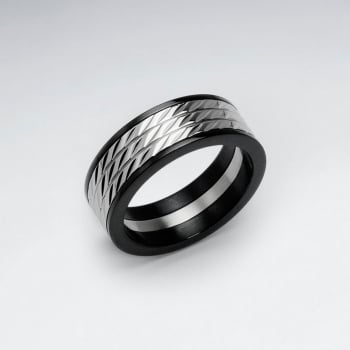 Stainless Steel PVC Wide Band Textured Ring
