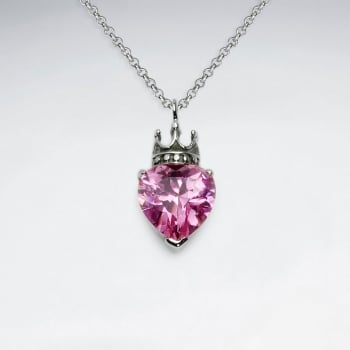 Stainless Steel Queen of Hearts Red Crystal Pendant