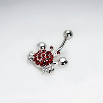 Stainless Steel Red Crystal Crab Body Piercing