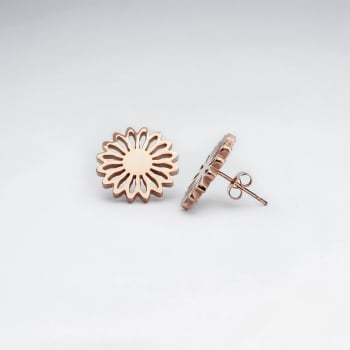 Stainless Steel Rosegold Tone Flower Burst Earrings