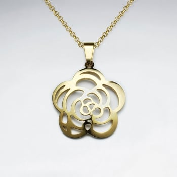 Stainless Steel Smooth Goldtone Openwork Rose Pendant