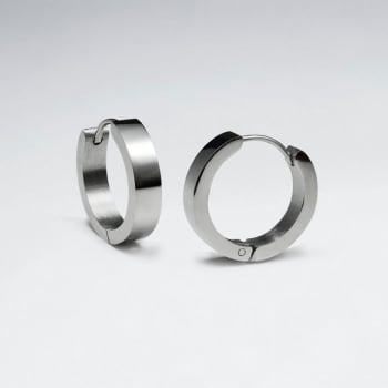 Stainless Steel Smooth Huggie Hoop Earrings