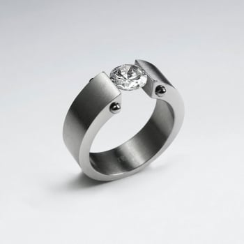 Stainless Steel Solitaire Crystal Ring