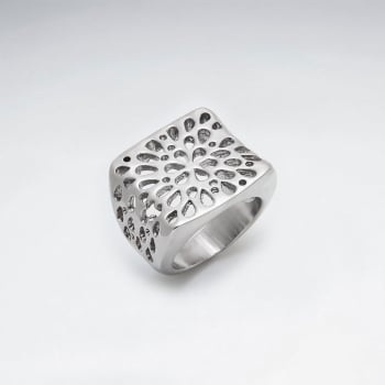 Stainless Steel Teardrop Perforated Cutout Fashion Ring