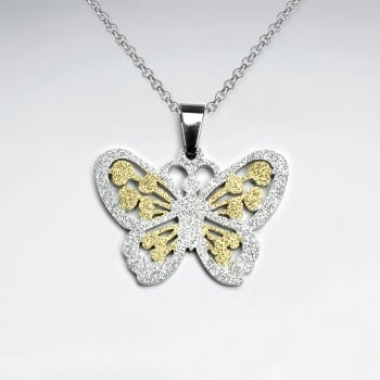 Stainless Steel Textured Butterfly Pendant
