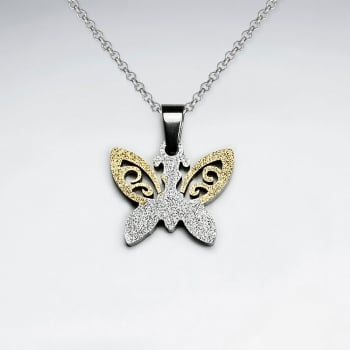 Stainless Steel Textured Duel Tone Butterfly Pendant