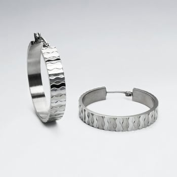 Stainless Steel Textured Flat Hoop Earrings
