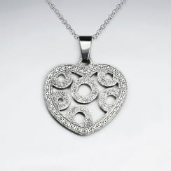 Stainless Steel Textured Open Heart Circle Designed Pendant