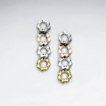 Stainless Steel Tri-Tone Circle Wreath Cascade Earrings