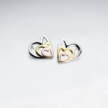 Stainless Steel Tri-Tone Overlapping Open Hearts Earrings
