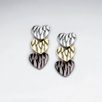 Stainless Steel Tri-Tone Zebra Hearts Openwork Cascade Earrings