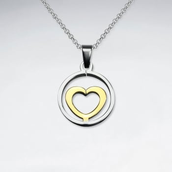 Stainless Steel Two-Tone Openwork Circle Heart Pendant
