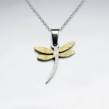 Stainless Steel Two Toned Textured Dragonfly Pendant