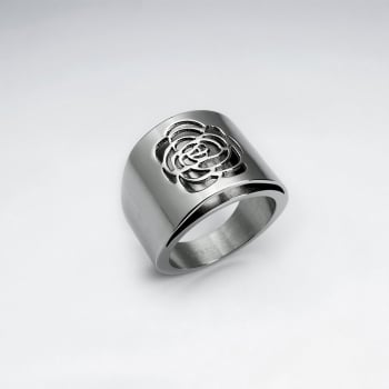 Stainless Steel Wide Openwork Rose Solitare Ring