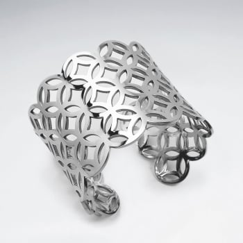Stainless Steel Wide Star Burst Cuff Bangle