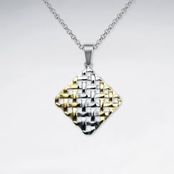Stainless Steel Woven Designs Marquis Silhouette Pendant