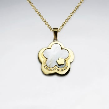 Stainless Steel Yellow Shell & Cubic Zirconia Flower Cover Pendant