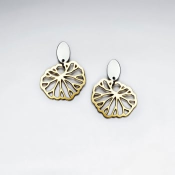 Stainless SteelOpenwork Circle Shell Dangle Earrings