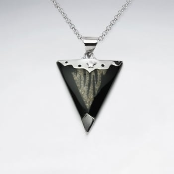 Star Designs San Resin and Sterling Silver Triangle Pendant