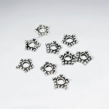 Star Shaped Oxidized Silver Decorated Beads Pack Of 100 Pieces
