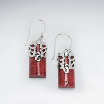 Stering Silver With Coral Earring