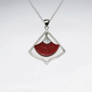 Stering Silver With Coral Pendant