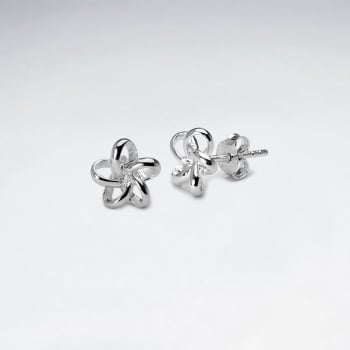Sterling Silver 3D Looped Flower Stud Earrings