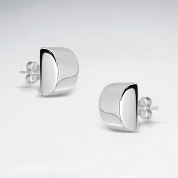 Sterling Silver 3D Semicircle Silver Earring