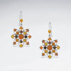 Sterling Silver Amber Sunburst Earrings