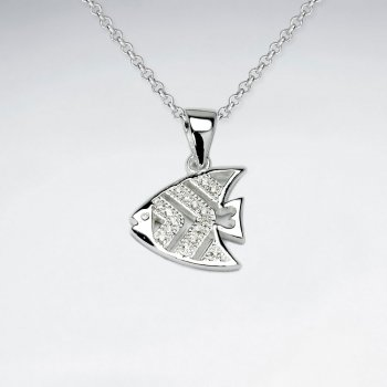 Sterling Silver and Cubic Zirconia Fish Pendant