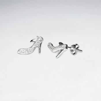 Sterling Silver And Cubic Zirconia Stiletto Heels Stud Earrings