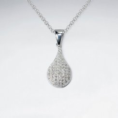 Sterling Silver and Cubic Zirconia Studded Teardrop  Pendant