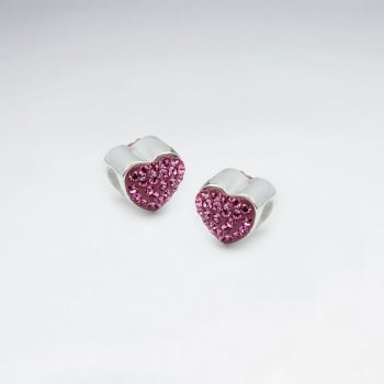 Sterling Silver and CZ Adorned Heart Beads