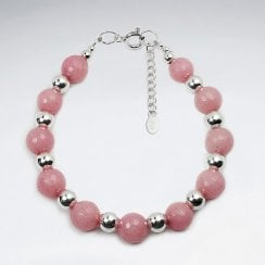 Sterling Silver and Gemstone Rhodonite Bracelet