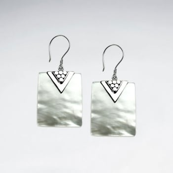 Sterling Silver and Mother Of Pearl Ornate Square Earrings