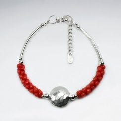 Sterling Silver and Red Coral Statement Bracelet