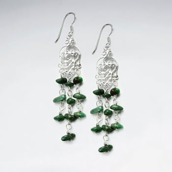 Sterling Silver and Turquoise Wirework Chime Cascade Dangle Earrings