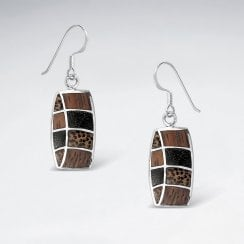 Sterling Silver and Wood Drop Earrings