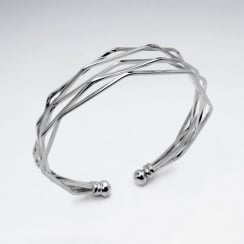 Sterling Silver Angular Open Ended Bangle