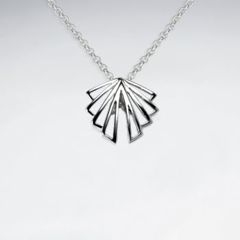 Sterling Silver Art Deco Openwork Fan Pendant