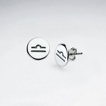Sterling Silver Astrological Libra Earrings