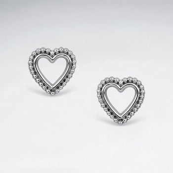 Sterling Silver Ball Tip Heart Stud Earrings