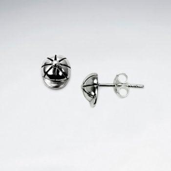 Sterling Silver Baseball Cap Earrings
