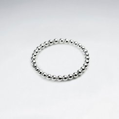 Sterling Silver Bead Thin Band Stackable Ring