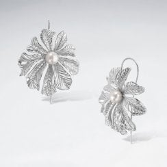 Sterling Silver Blossoming Flower Hook Earrings