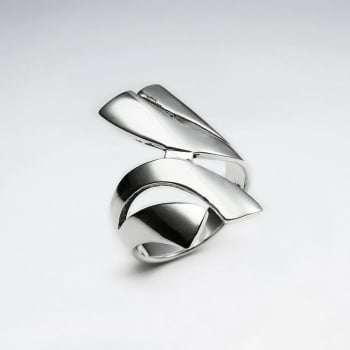Sterling Silver Bold Lines Curve Design Ring