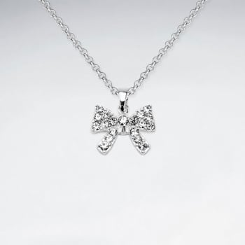 Sterling Silver Bow With Crystal Pendant