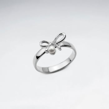 Sterling Silver Bow With Pearl Ring