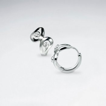 Sterling Silver Bowtie Earrings With White Silver Accents